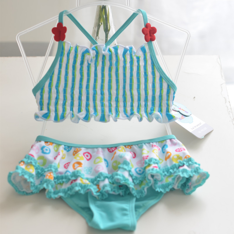 Micro 2017 Small Children GIRL'S Wrinkle Lace Loose Muscle Camisole Split Type CHILDREN'S Swimsuit