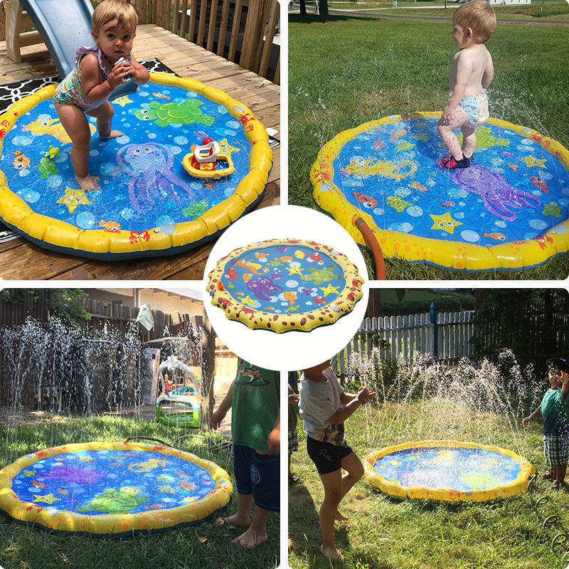 Summer Outdoor Lawn Beach Inflatable Water Spray Kids Sprinkler Play Pad Mat Water Games Beach Mat Cushion Toys