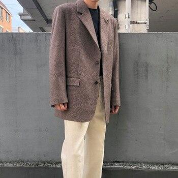 Men Spring Autumn Thick Wool Casual Suit Blazer Coat Male Vintage Fashion Streetwear Loose Suit Jacket Outerwear