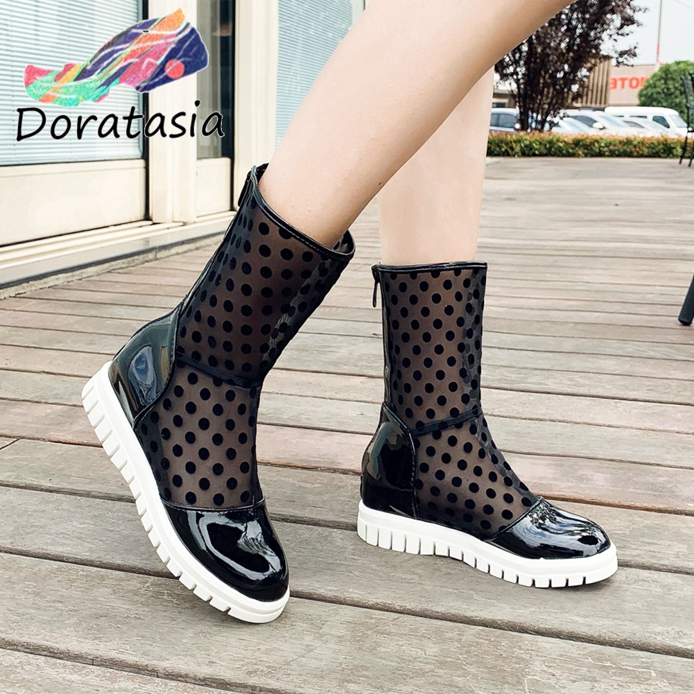 DORATASIA Fashion Female Summer Boots Round Toe Platform Zipper Dot Mid Calf Boots Women 2020 Office Casual Shoes Woman