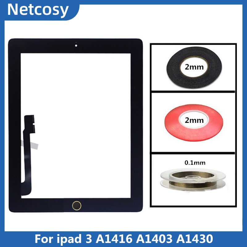 Black New iPad 3 Model A1403 A1416 A1430 Digitizer Screen Replacement Glass Repl