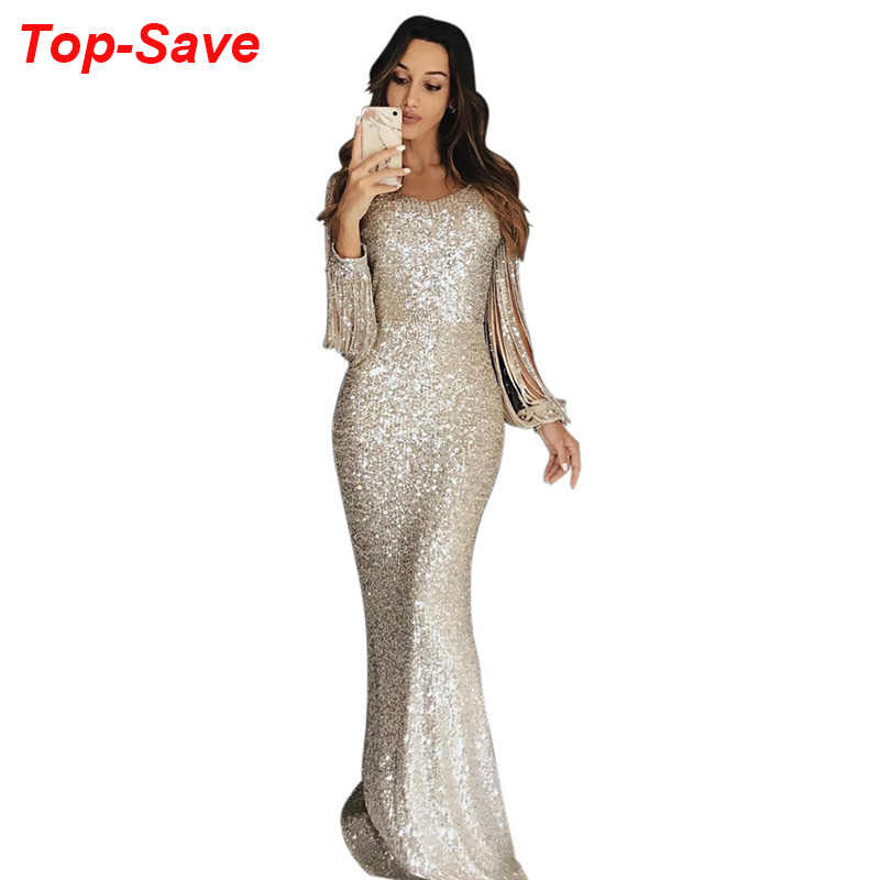 Wholesale Cheap Long Evening Party Dresses Women High Quality Tassel Sequin Crystal Luxury Rhinestone Plus Size Elegant Dress XL