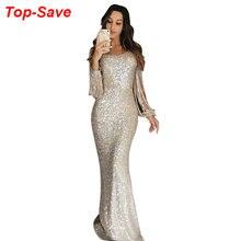 Robe de soirée longue de haute qualité, robe de soirée, à glands, paillettes et cristaux, luxe, strass, grande taille, élégante, XL, vente en gros
