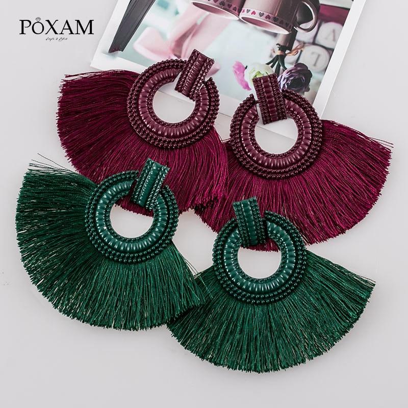 Bohemian Big Tassel Earrings For Women Vintage Silk Fabric Fringe Earrings Drop Earring 2019 Female Fashion Statement Jewelry