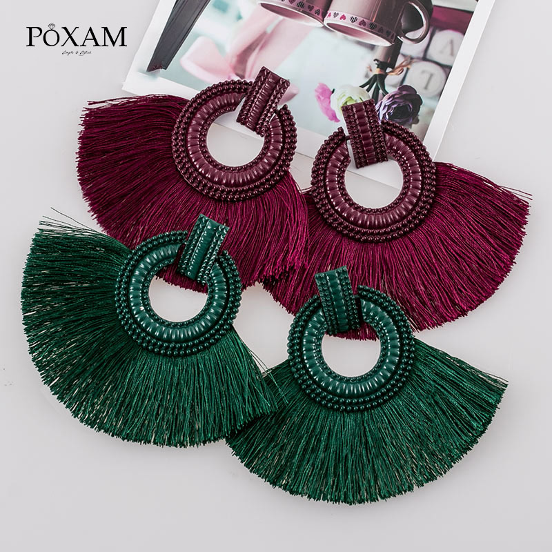 POXAM Fashion Big Tassel Earrings for Women Red Blue Yellow Silk Fabric Long Drop Fringe Earring Boho Wedding Statement Jewelry