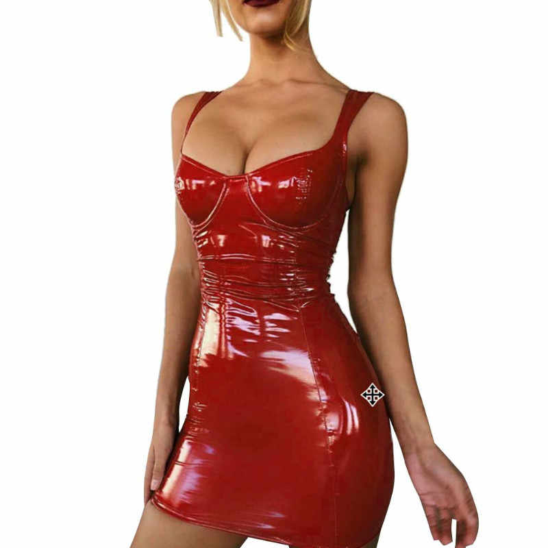 Vrouwen Latex Faux Leather Bodycon Mini Jurk 2020 Zomer Mouwloos Strap Sexy Club Dress Vestido