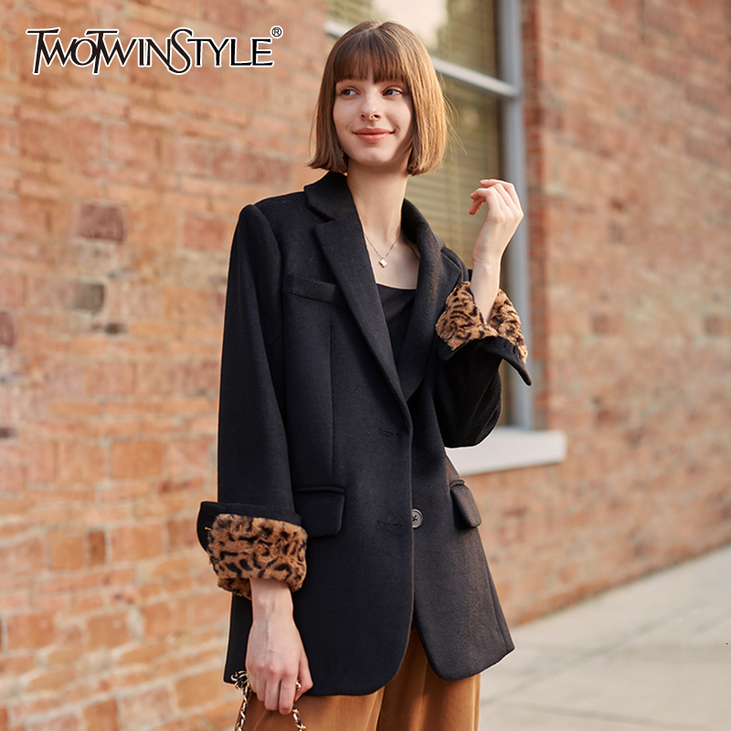 TWOTWINSTYLE Patchwork Leopard Woolen Blazer For Female Notched Long Sleeve Streetwear Style Autumn Suits Women Fashion 2020 New