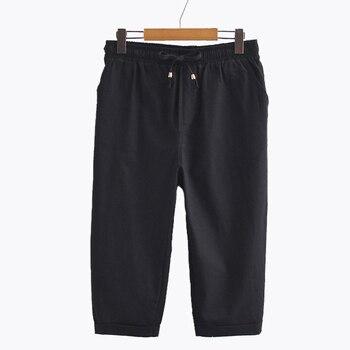 Summer Women's Elastic Waist Harem Pants Capris Plus Size Candy Color Casual Beach Calf-Length Cotton Linen Pant Pants & Capris