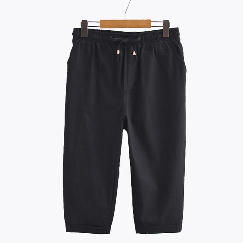 2020 Summer Women's Elastic Waist Harem Pants Capris Plus Size Candy Color Casual Beach Calf-Length Cotton Linen Pant