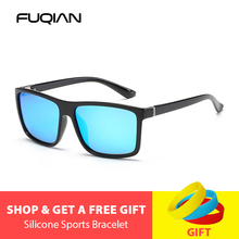 FUQIAN Brand Classic Square Polarized Sunglasses Men Vintage Plastic Mirror Sun Glasses Unisex  Black Driving Eyewear UV400