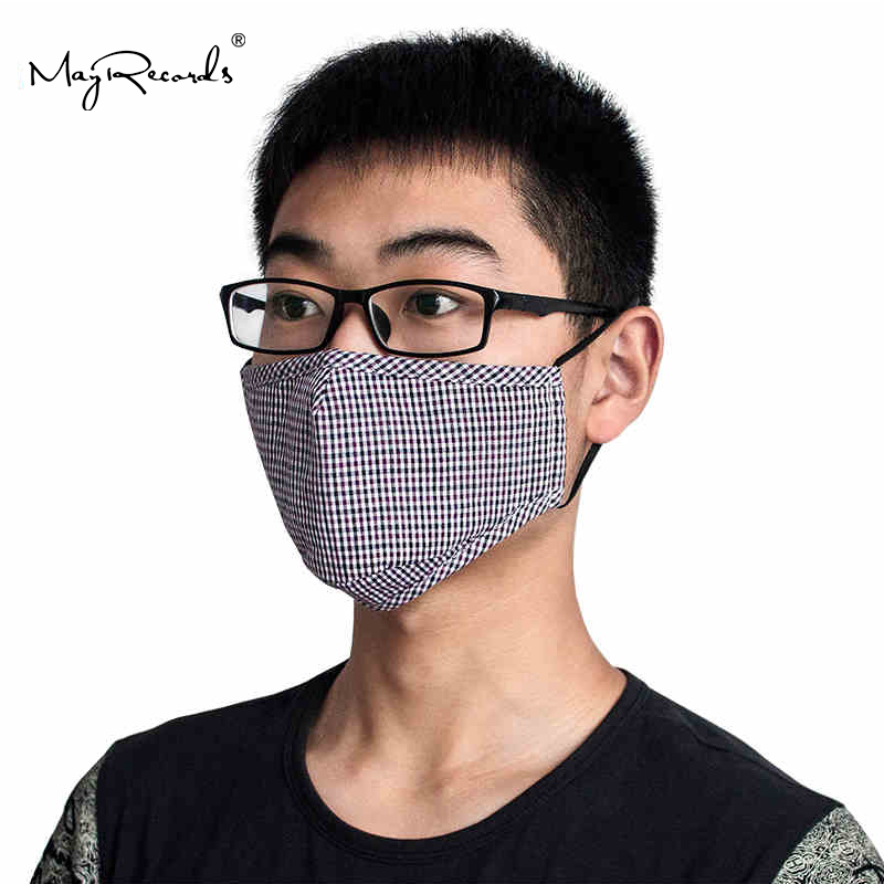Free Shipping 2PCs Washable Durable Cycling Mouth-muffle PM2.5 Anti-dust Fashionable Unisex Grid Mask Respirator