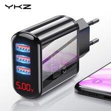 Ykz led usb 충전기 3.4a 아이폰에 대 한 빠른 충전 eu 벽 플러그 어댑터 삼성 샤오미 화웨이 휴대용 휴대 전화 빠른 충전