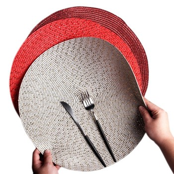 Weave PP Gold Silver Wire Pad Drink Coaster Christmas Placemat For Dining Table Mat Weding Decoration Kitchen Coffee Bar Doilies diy retro lace wool placemat cup coaster tea mug coffee kitchen drink table place mat cloth crochet doilies dining felt pad 21cm