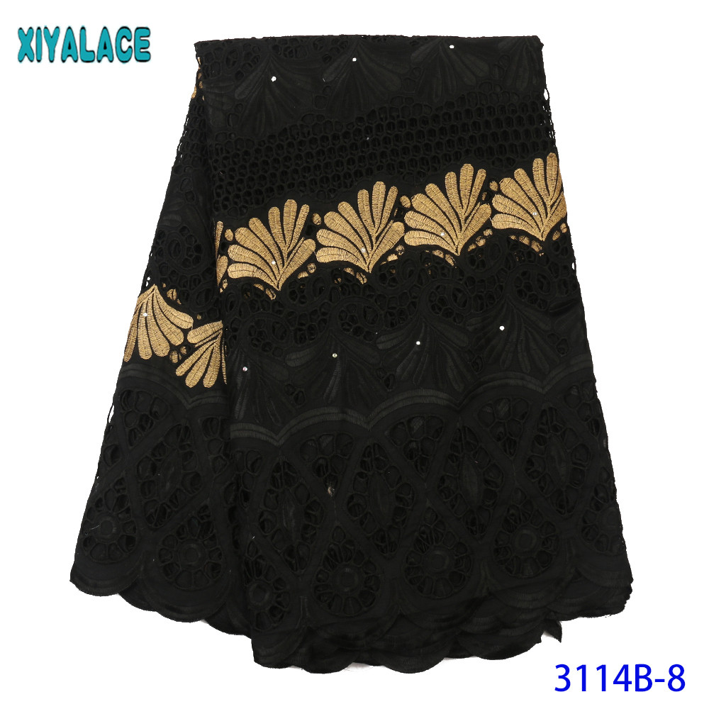 African Nigerian Dry Lace Fabric High Quality Pure Cotton Swiss Voile Lace In Switzerland For Sewing Dresses KS3114B