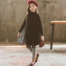 Dresses for Teens Korean Girls Fall Winter Dress Black Mesh Tutu Ball Grown Childrens Clothing Girl 3 - 14 Year