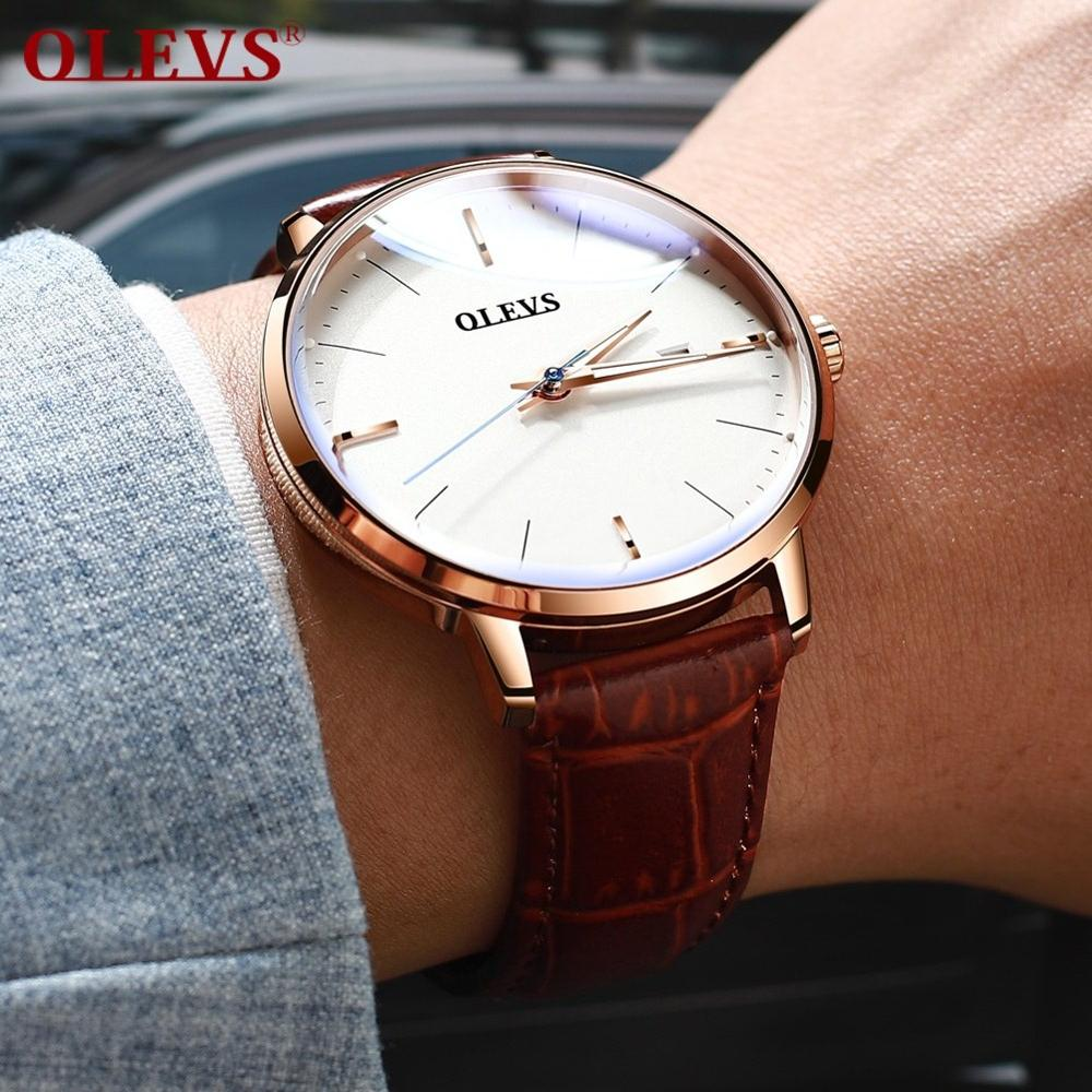 Automatic Mechanical Watch Fashion Simple Style Men's Watch Rose Gold Case/ Brown/Black /Date Function Imported Movement