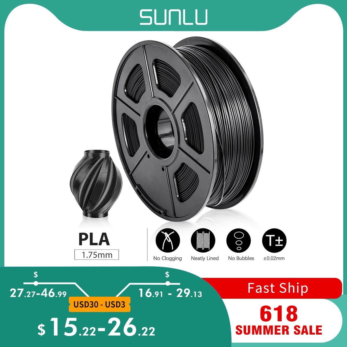 SUNLU PLA 3D-принтеры нити 1,75 мм 2,2 фунтов 1 кг катушки Новый 3D полиграфические материалы для 3D-принтеры s и 3D ручки с вакуумной упаковки