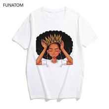 Harajuku White Shirt vogue Crown tshirt women African Girl Black Hair girl t shi