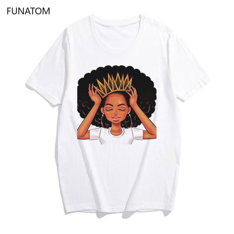 Harajuku White   Shirt   vogue Crown tshirt women African Girl Black Hair girl   t     shirt   femme summer tops female   t  -  shirt