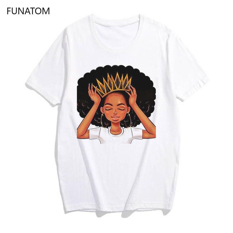 Harajuku camisa blanca vogue corona camiseta Mujer Africana chica pelo negro chica camiseta mujer verano tops mujer camiseta Mujer verano playa Bikini cubrir Crochet traje de baño Pareos vestido traje de baño AU