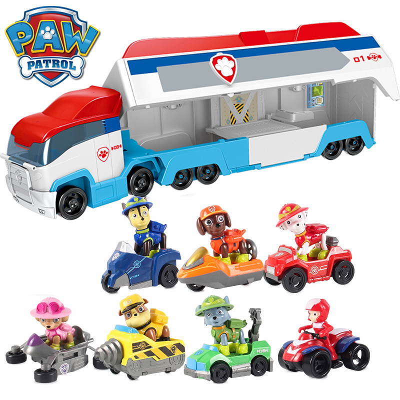 Paw Patrol Bus With Music Everest Car Mobile Puppy Patrol Anime Rescue Bus Action Figure Toys For Children New Year Gifts 2D70
