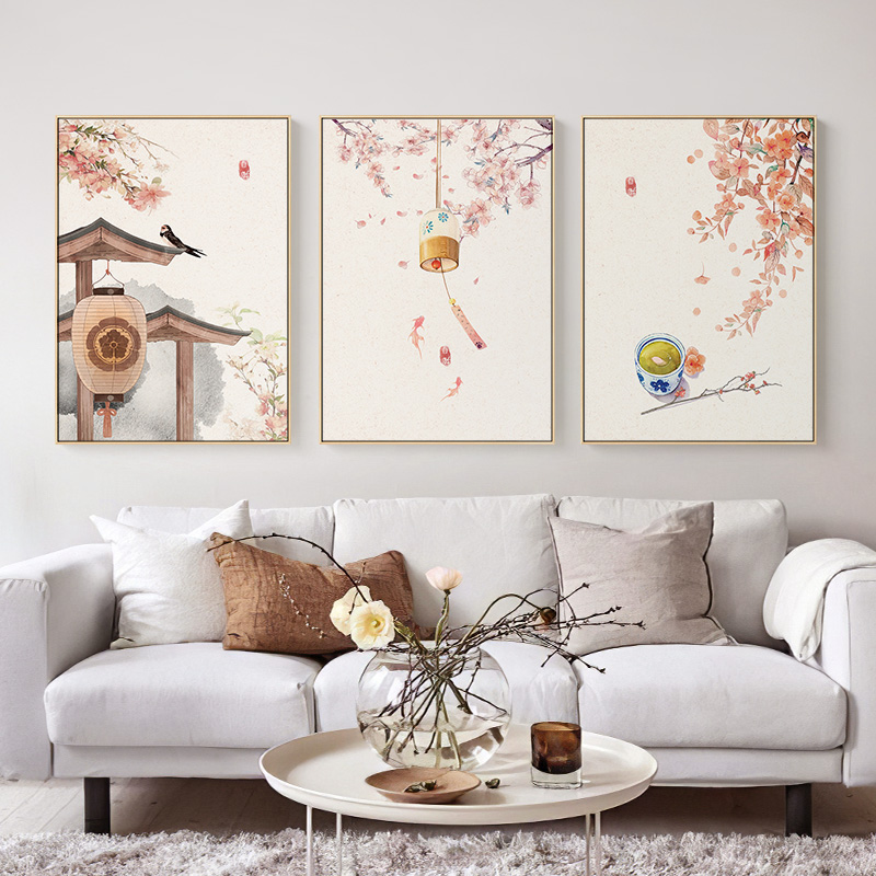 Japanese Style Landscape Posters Flowers Trees and Chimes Canvas Painting Prints Wall Art Pictures for Living Room Home Decor