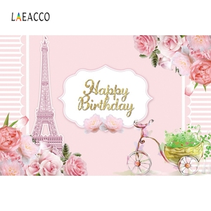 Image 3 - Laeacco Birthday Backdrops Paris Eiffel Tower Flowers Bike Customized Photography Backgrounds For Photo Studio Photophone Props
