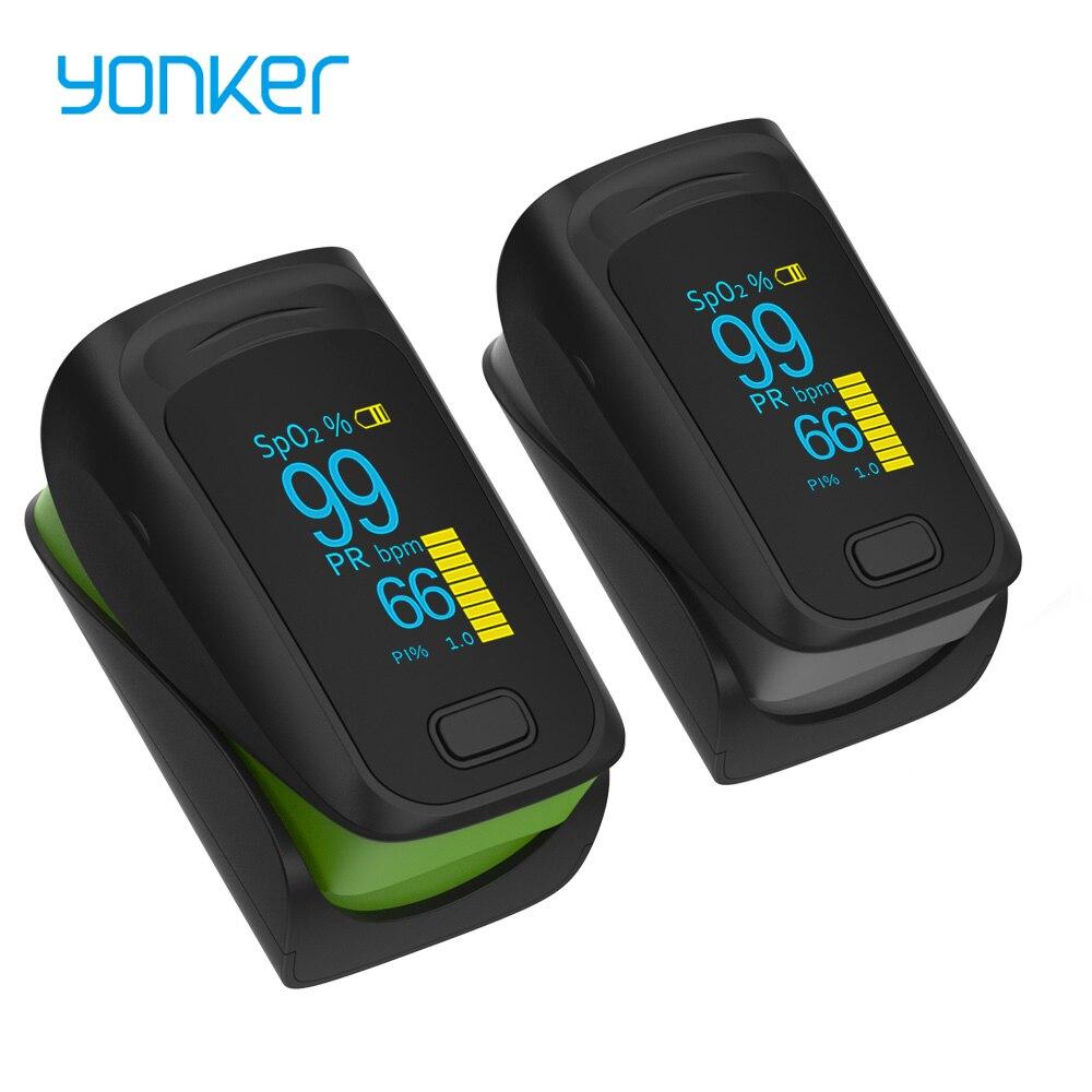 Пульсоксиметр Пальчиковый Yonker, медицинский портативный цифровой прибор с OLED-экраном для измерения пульса и уровня кислорода в крови, забот...