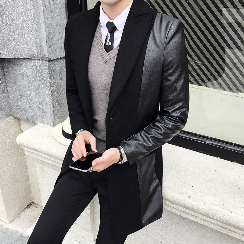 Spring Splicing Leather Jacket Men Moto Hommes Baseball Collar Mens Wool Trench Coat 2020 Quality Veste Biker Homme