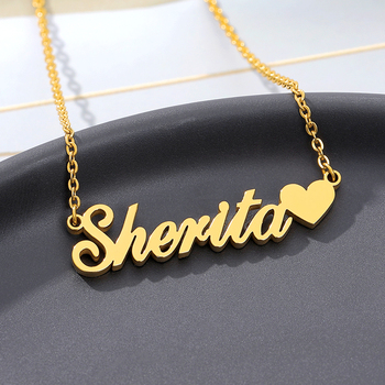 Custom Name Necklace With Heart Silver Gold Chain Stainless Steel Handmade Customized Personalized Gift For Her