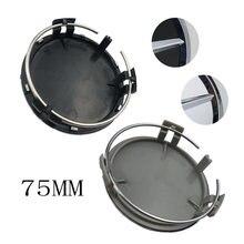 4 pçs/lote 75mm preto-prata centro da cidade borda da tampa do cubo da roda do emblema para mercedes