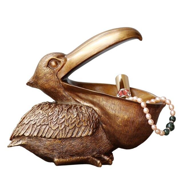 ERMAKOVA Toucan Figurine Key Storage Holder Pelica Statue Animal Bird Sculpture Home Desktop Decoration Ornament Gift