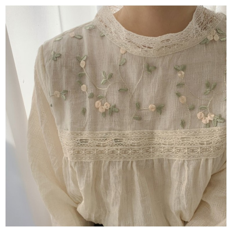 Lolita Rustic Vine Floral Embroidery  Lace Patchwork Stand Collar Long Sleeve Sweet Cotton Shirt Mori Girl