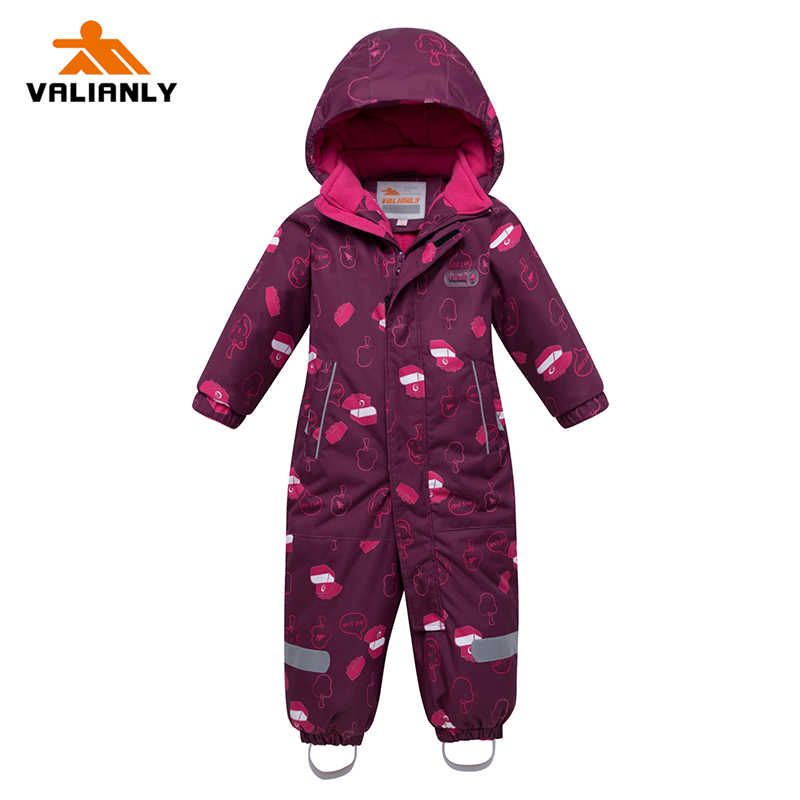 2019 New Winter Kids Girls Snowsuit Children Ski Suit One-piece Hooded Girls Jumpsuit Outdoor Waterproof Windproof Snowboarding