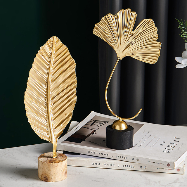 Home Office Decor Accessories Gifts Nordic Creative Metal Handmade Ginkgo Biloba Figurines Wrought Iron Flower Plant Ornament 4