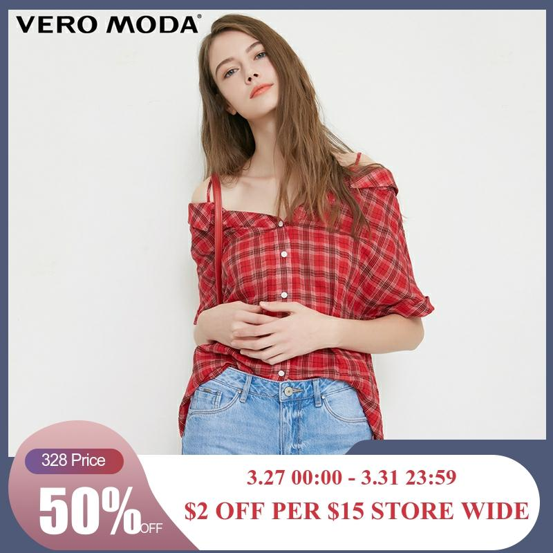 Vero Moda Women's Off-Shoulder Top Plaid Half Sleeves Plaid Shirt Blouse | 31836W506