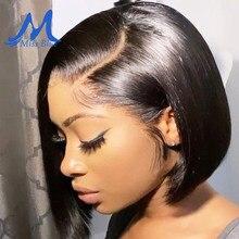 Perucas de cabelo curto do laço do bob da parte dianteira do laço de missblue bob peruca do fechamento do cabelo humano