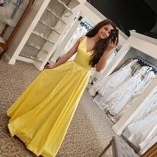 Uzn элегантное платье трапеция с v образным вырезом желтый длинный