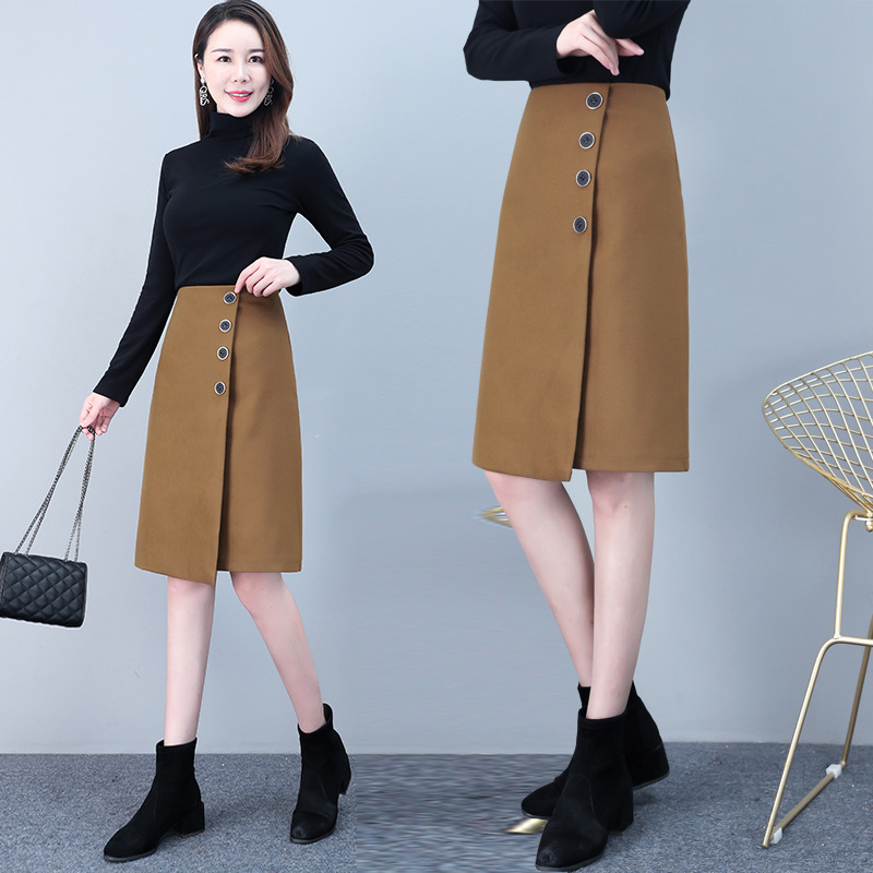 High Waist Skirt Asymmetric Skirt Women's Autumn And Winter 2019 Section Woolen Slimming Half-length Commuter A- Line Skirt Kore