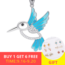 New arrival 925 sterling silver lovely bird chain pendant&necklace with CZ&blue enamel diy fashion jewelry making for women gift ztung gop9 for us fashion ziron flowers pendant send with white and blue material 925 silver chian for women wonderful gift