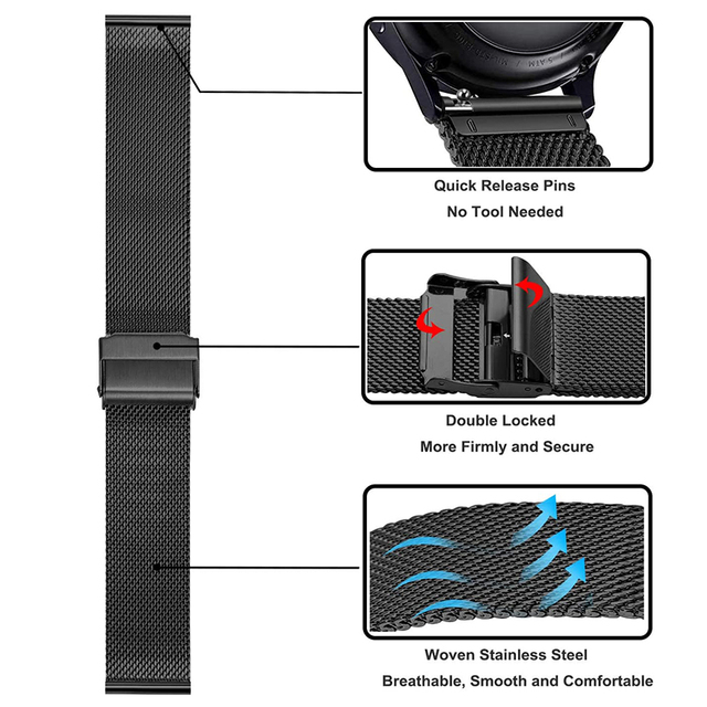 20mm 22mm metal Band for Samsung Galaxy watch 3/46mm/42mm/active 2/Gear S3 bracelet Huawei watch GT 2 2e Pro strap 3
