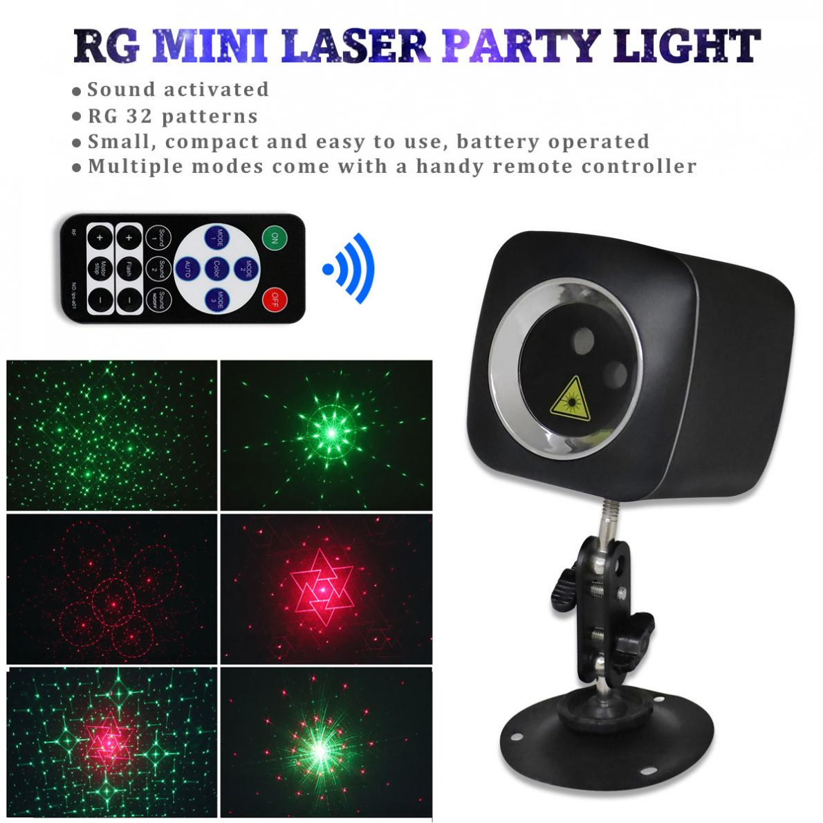 Projector Lights WL-513A Mini RG 32 Patterns Red / Green LED Light Effect Handheld Projector Laser Lamp  For Family Party