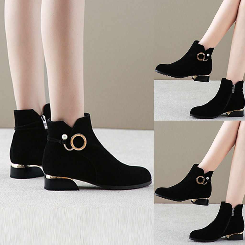 Gild แหวนและส้น Pearl Elegant เซ็กซี่ฟันเลื่อย FLOCK รองเท้าบู๊ตหิมะรองเท้าส้นต่ำรองเท้าสั้นฤดูหนาว WARM # T