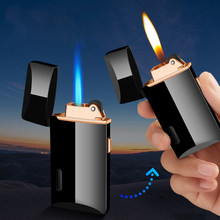 Twee Vlammen Sigarettenaansteker Gasaansteker Turbo Aanstekers Roken Accessoires Gadgets Voor Mannen Creatieve Elektronische Aanstekers