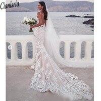 2020 V neck 3D Lace Applique Mermaid Beach Wedding Dresses Backless Sweep Trumpet Steven Khalil Garden Bridal Wedding Dress