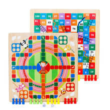 Двухсторонняя двухсторонняя деревянная змея и лестницы игра полет шахматы детские развивающие игрушки Настольные игры шахматы настольная игра игрушки