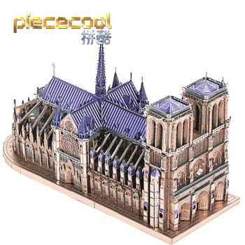 Piececool 3D Puzzle metalowe katedra NOTRE DAME paryż model budynku zestawy DIY laserowo wycinane Puzzle wyrzynarka zabawkowa dla dzieci tanie i dobre opinie 12 + y CN (pochodzenie) Unisex Inteligentna plansza układanka be careful of the edges NOTRE DAME CATHEDRAL PARIS puzzle jigsaw