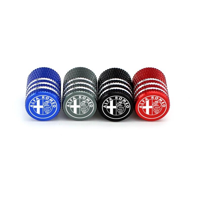 4Pcs Valve Caps Aluminum For Alfa Romeo 159 Mito Giulia Giulietta GT Car Truck Air Port Cover Tire Rim Valve Wheel Stem Caps