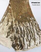 Todas las lentejuelas bordadas liso oro francés encaje africano tul tela única alta calidad 5 yardas gran oferta