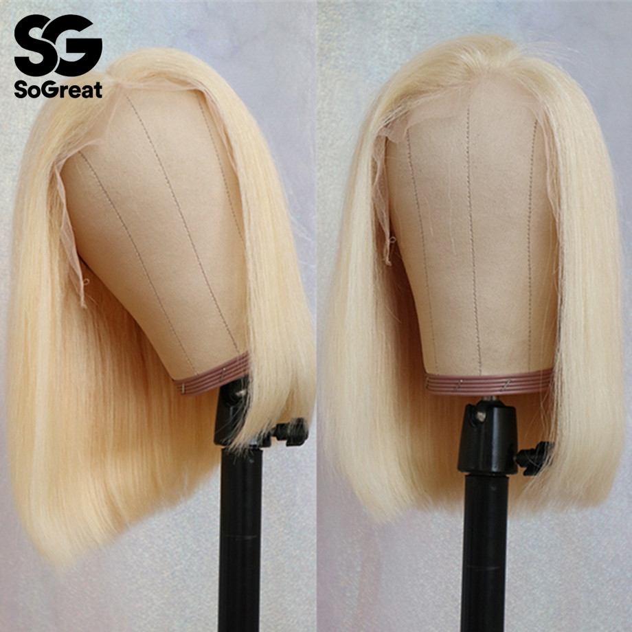 Short Straight Ombre 613 Blonde Long Brazilian Lace Front Human Hair Wigs Afro Remy BOB Wig Pre Plucked For Black Women Remy